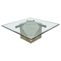 Cantilevered Square Glass Top Travertine and Chrome Coffee Table by Artedi
