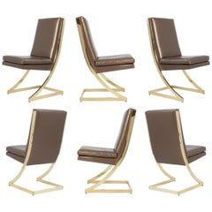 Cantilevered Z Dining Chairs in Brass for DIA, Set of 6