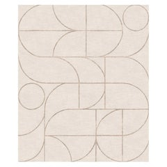 Cantinela Lenta, Beige Children Room Hand-Knotted Wool Blend-Silk Rug
