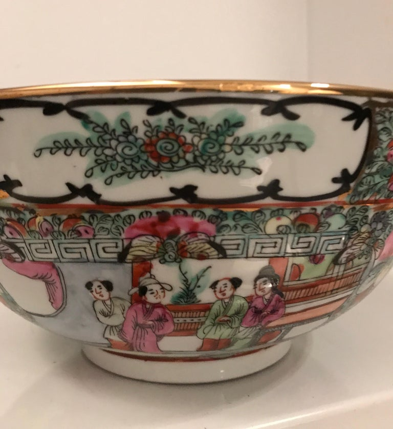 Finely decorated Cantonese enameled famille verte porcelain bowl.