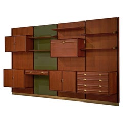 Cantù Wall Unit in Teak and Brass