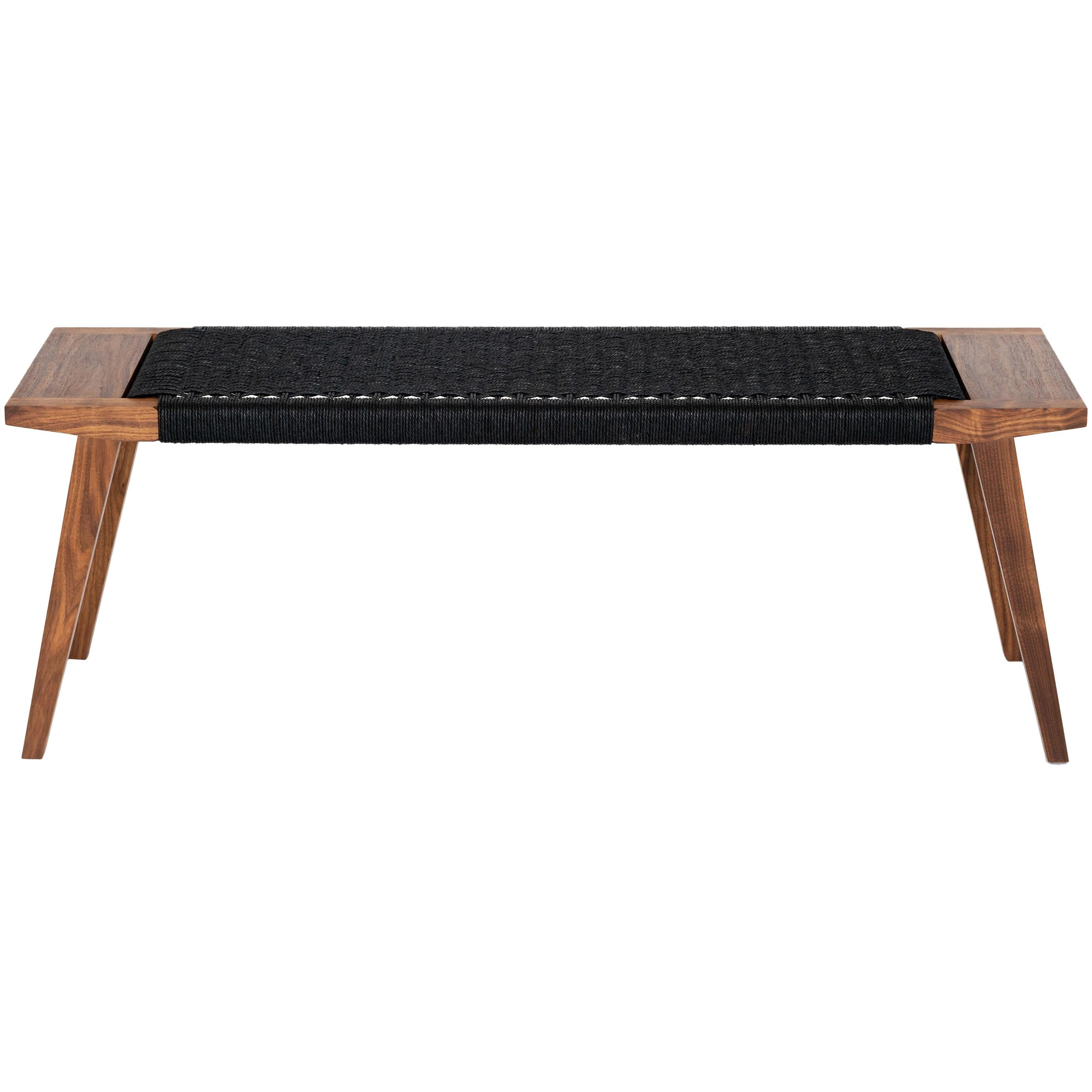 Canva Bench, Walnut with Handwoven Black Danish Chord, Occasional Bench