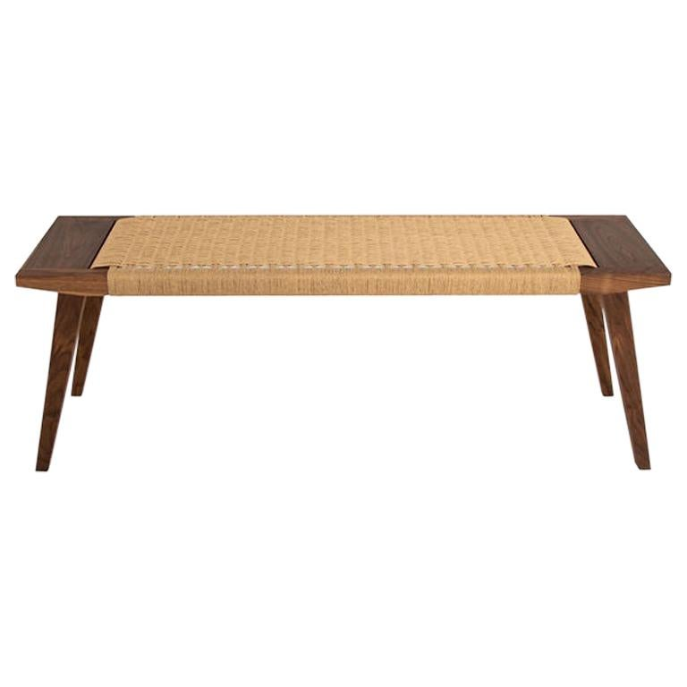 Canva Bench, Walnut with Handwoven Natural Danish Chord, Occasional Bench