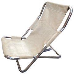 Canvas and Chrome Folding Lounge Chair
