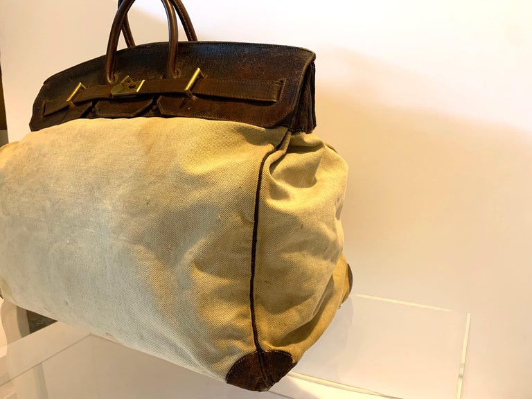 Modern Canvas and Leather Hermes HAC Travel Bag For Sale