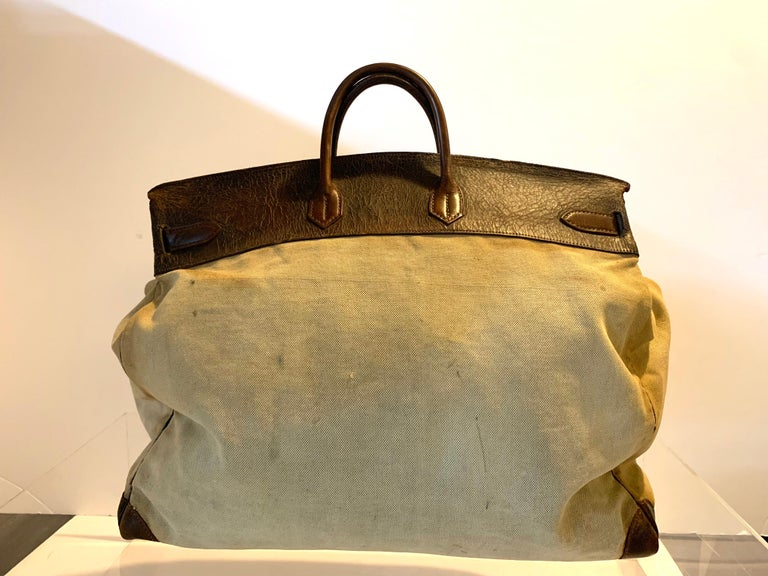 French Canvas and Leather Hermes HAC Travel Bag For Sale