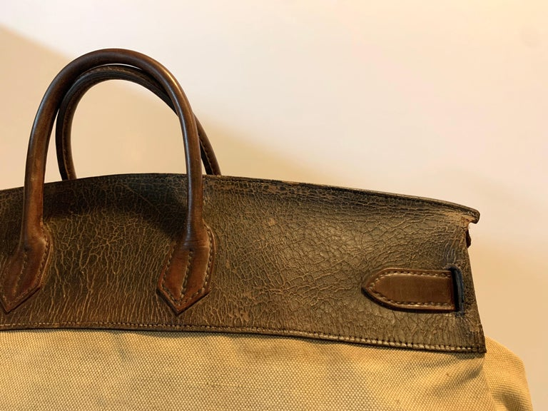 Canvas and Leather Hermes HAC Travel Bag In Fair Condition For Sale In New York, NY