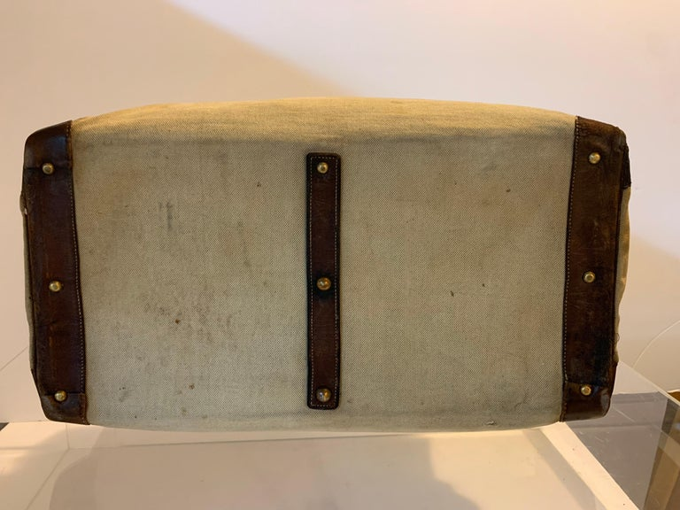 20th Century Canvas and Leather Hermes HAC Travel Bag For Sale