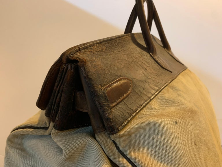 Canvas and Leather Hermes HAC Travel Bag For Sale 3