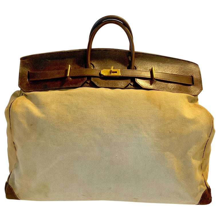 Canvas and Leather Hermes HAC Travel Bag For Sale