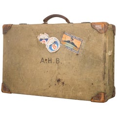 Canvas and Leather Suitcase, circa 1940