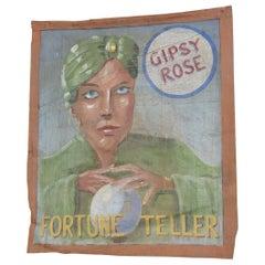 Canvas Circus Banner Fortune Teller, circa 1950s