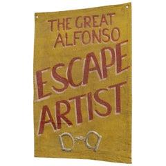Canvas Escape Artist Sideshow Banner, circa 1950s