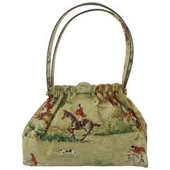 Canvas & Leather Handbag With Equestrian Fox Hunt Motif