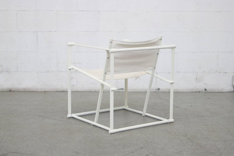 Enameled Canvas Pastoe Cube Lounge Chairs by Radboud Van Beekum For Sale
