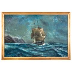 """Canvas """"Storm at sea""""."""