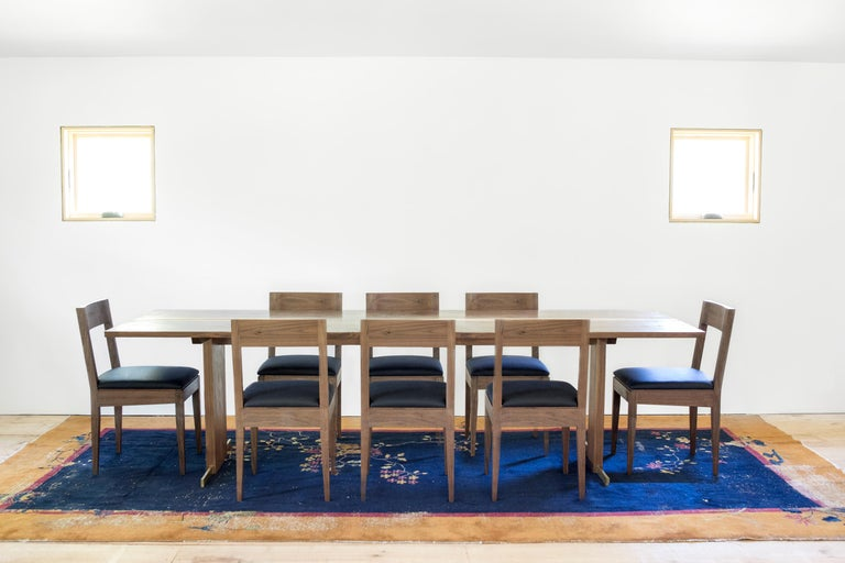 Canyon Dining Table in Live Edge Walnut and Brass Inlay with Trestle Base 5