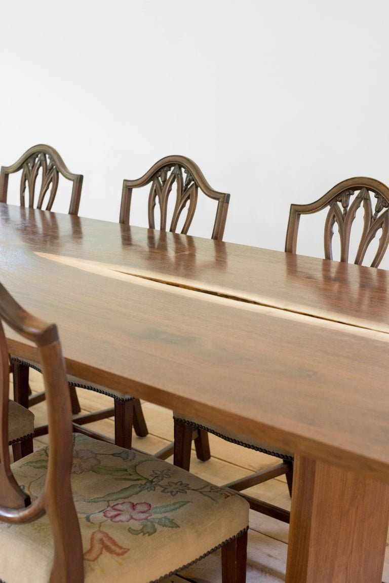 Modern Canyon Dining Table in Live Edge Walnut and Brass Inlay with Trestle Base