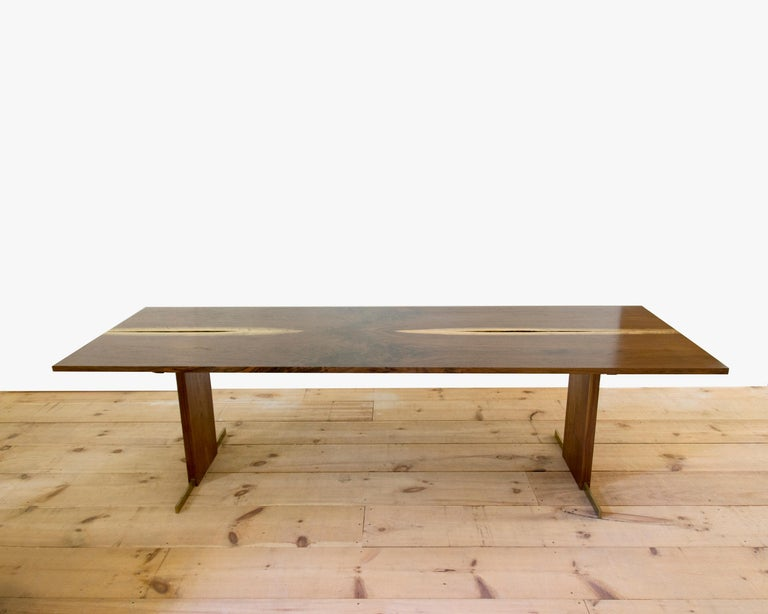 American Canyon Dining Table in Live Edge Walnut and Brass Inlay with Trestle Base