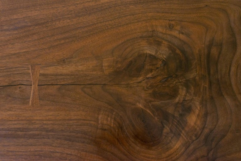 Contemporary Canyon Dining Table in Live Edge Walnut and Brass Inlay with Trestle Base