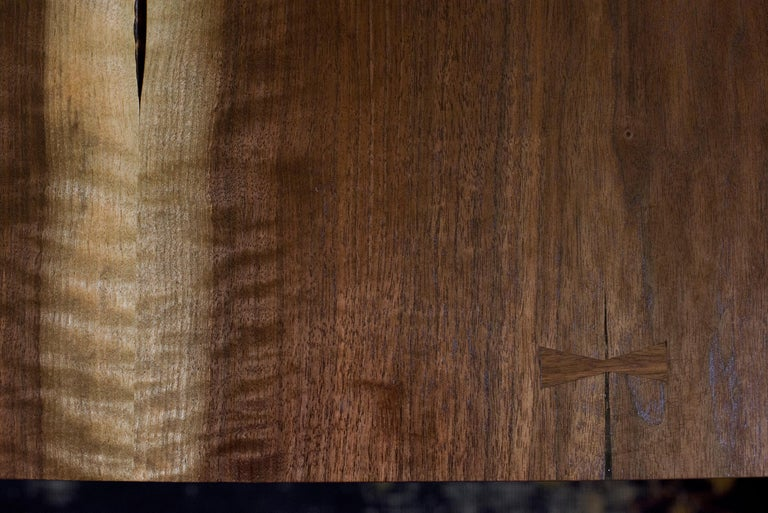 Canyon Dining Table in Live Edge Walnut and Brass Inlay with Trestle Base 2