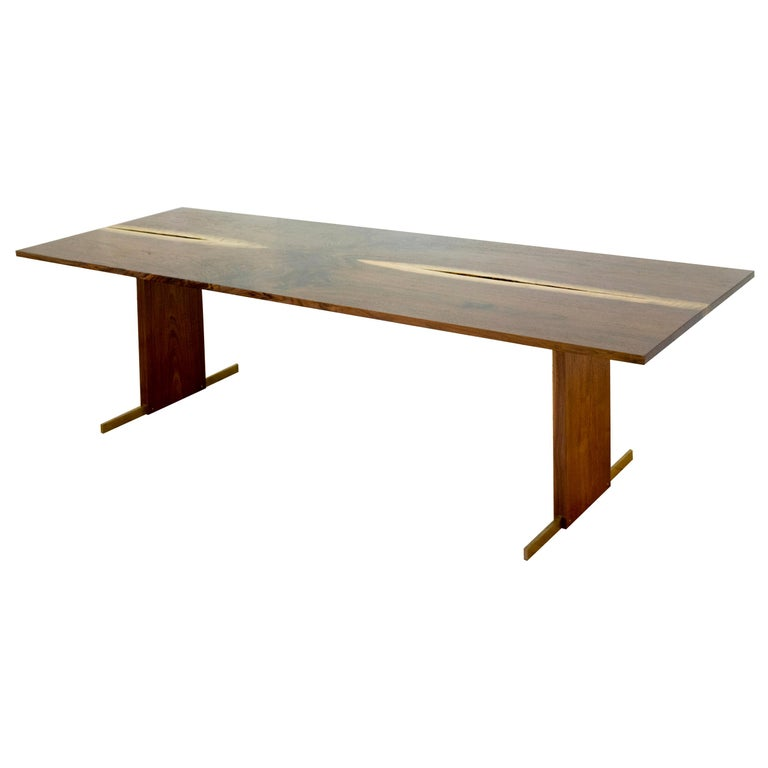 Canyon Dining Table in Live Edge Walnut and Brass Inlay with Trestle Base