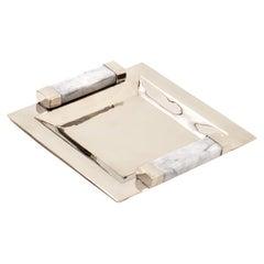 CAPA MINI Small Tray, Alpaca Silver & Gray Marble