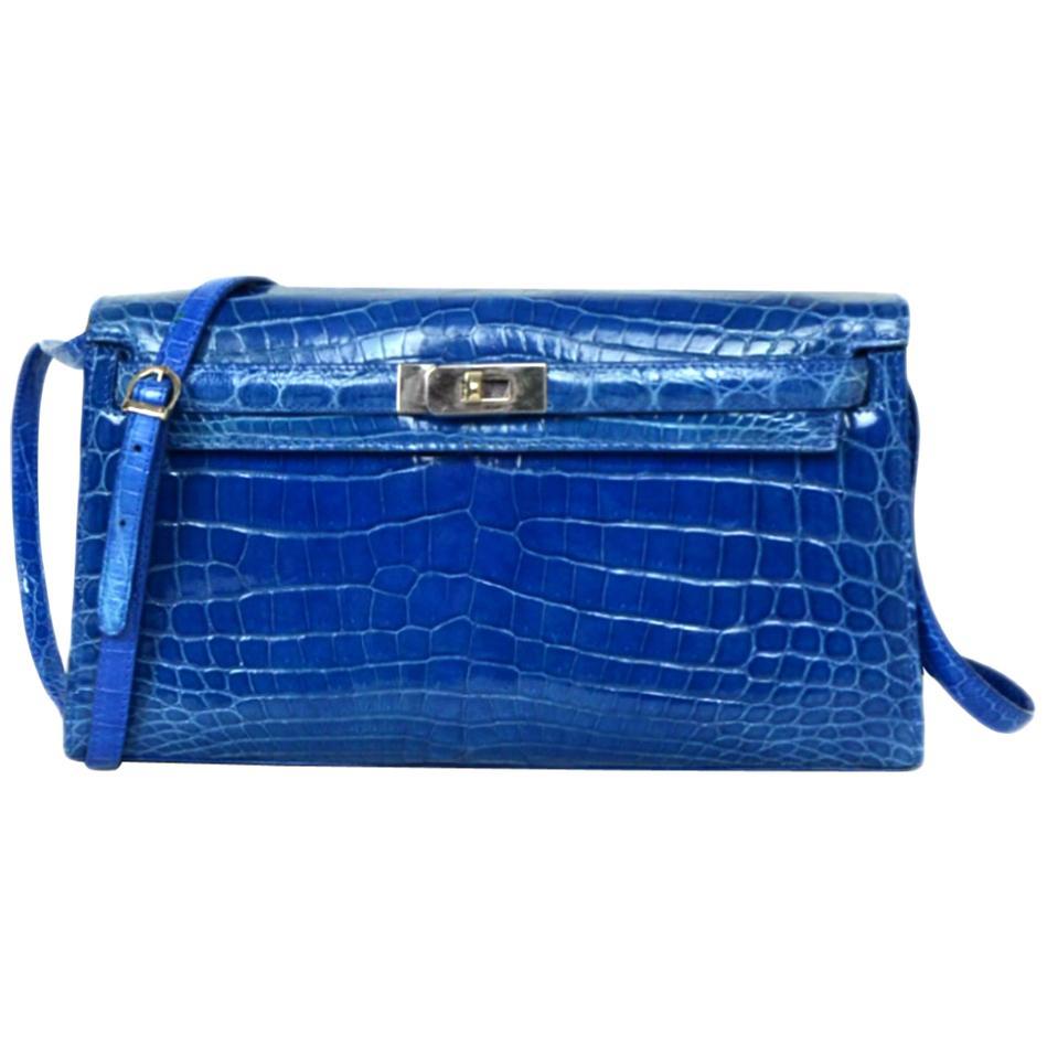 Cape Cobra Nile Crocodile Royal Blue Clutch/Shoulder Bag