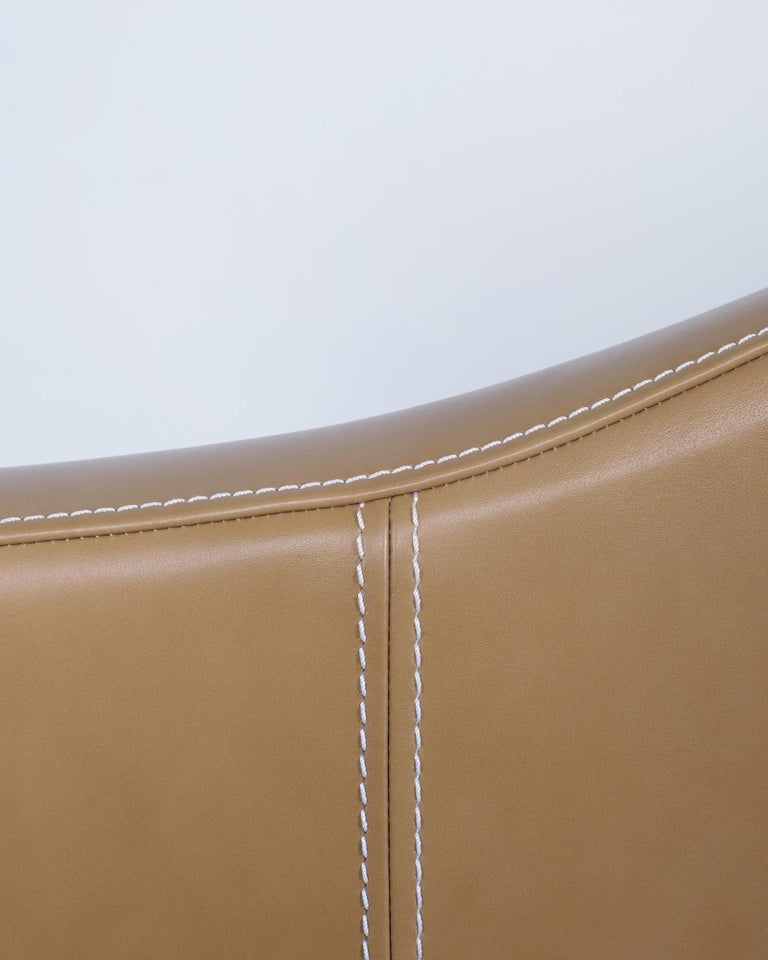 Portuguese 21st Century Capelinhos Armchair Rotating Wood Premium Italian Leather Caramel For Sale