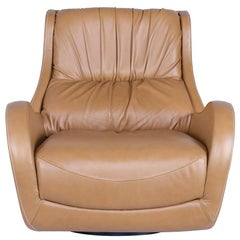 21st Century Capelinhos Armchair Rotating Wood Premium Italian Leather Caramel