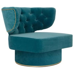 21st Century Capi Armchair in Blue Velvet Upholstery and Brass Details