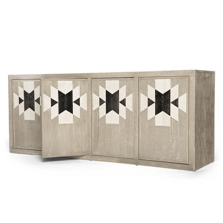 Capistrano Anrichte aus Rustikalem Holz mit Geometrischem Muster von Badgley Mischka Home 3