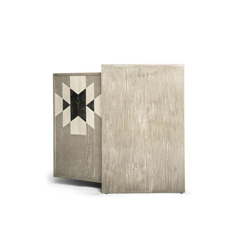 Capistrano Credenza in Rustic Wood W/ Geometric Pattern by Badgley Mischka Home 5