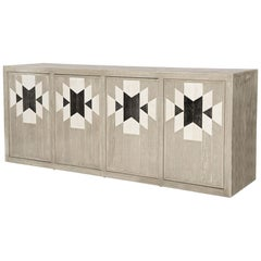 Capistrano Credenza in Rustic Wood W/ Geometric Pattern by Badgley Mischka Home