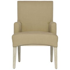 Capistrano Dining Armchair with Wood and Brass Frame by Badgley Mischka Home