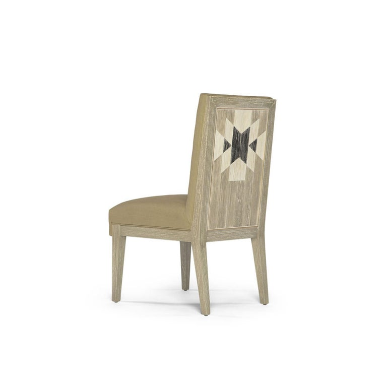 Capistrano Dining Side Chair with Wood and Gold Leaf Frame, Badgley Mischka Home 3
