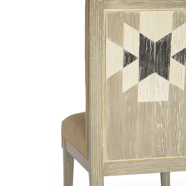 Capistrano Dining Side Chair with Wood and Gold Leaf Frame, Badgley Mischka Home 5