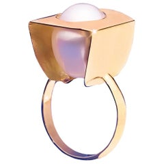 Capitaine, Pearl, yellow gold, cocktail ring,