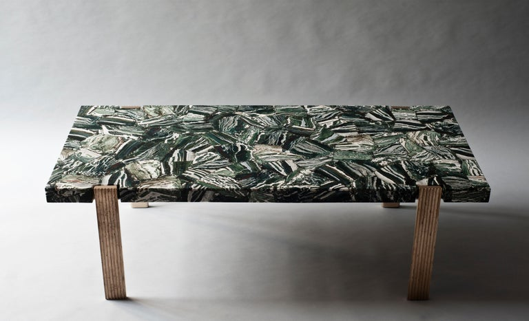 Capital coffee table by DeMuro Das  Dimensions: W 135 x D 60 x H 43 cm Materials: Agate (Green Zebra ) - Polished (Random) tabletop  Solid Bronze (Antique) Legs   Dimensions and finishes can be customized.  DeMuro Das is an international