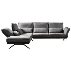 Capitolo Gray Leather Sofa