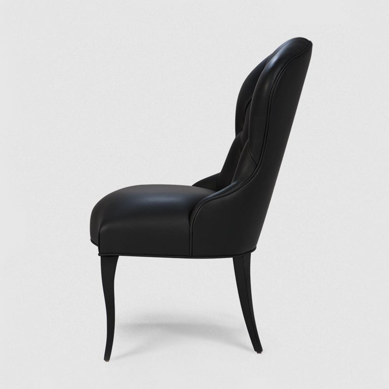 Hand-Crafted Capiton Dark Chair For Sale