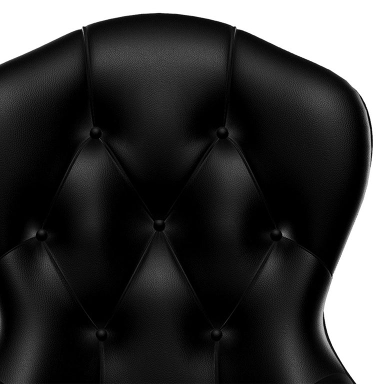 Leather Capiton Dark Chair For Sale