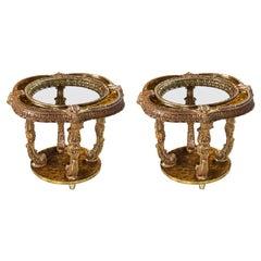 Capiz Abalone Shell Gilt Metal Italian Florentine Style End Tables