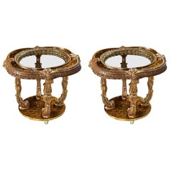 Capiz Abalone Shell Gilt Metal Italian Florentine Style End Tables