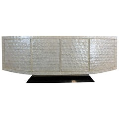 Capiz Shell and Black Marble Credenza by Marquis Collection of Beverly Hills