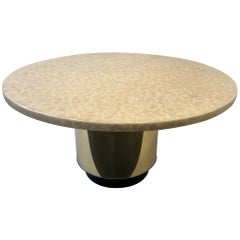 Capiz Shell and Brass Dining Table by Arthur Elrod