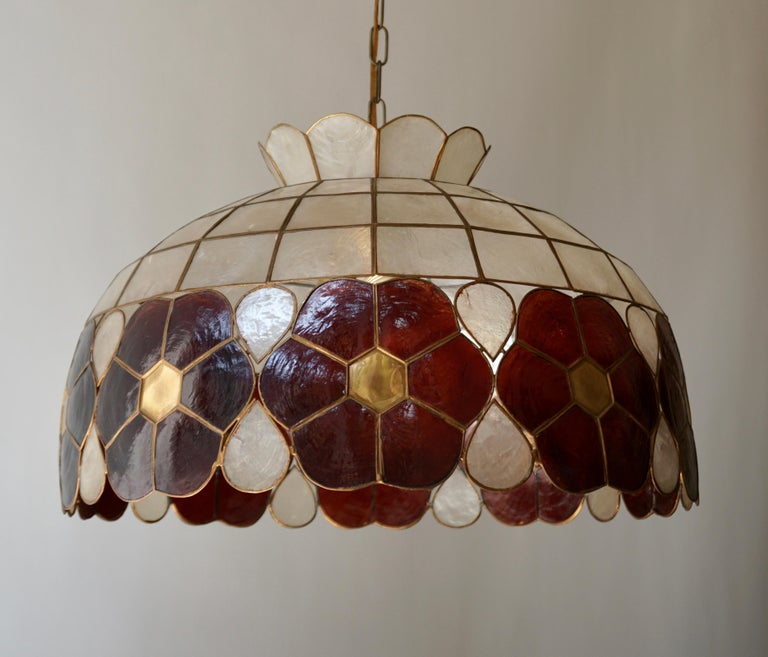 Capiz Shell and Brass Floral Themed Pendant Light For Sale 4