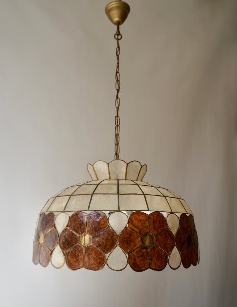 Capiz Shell and Brass Floral Themed Pendant Light For Sale 5