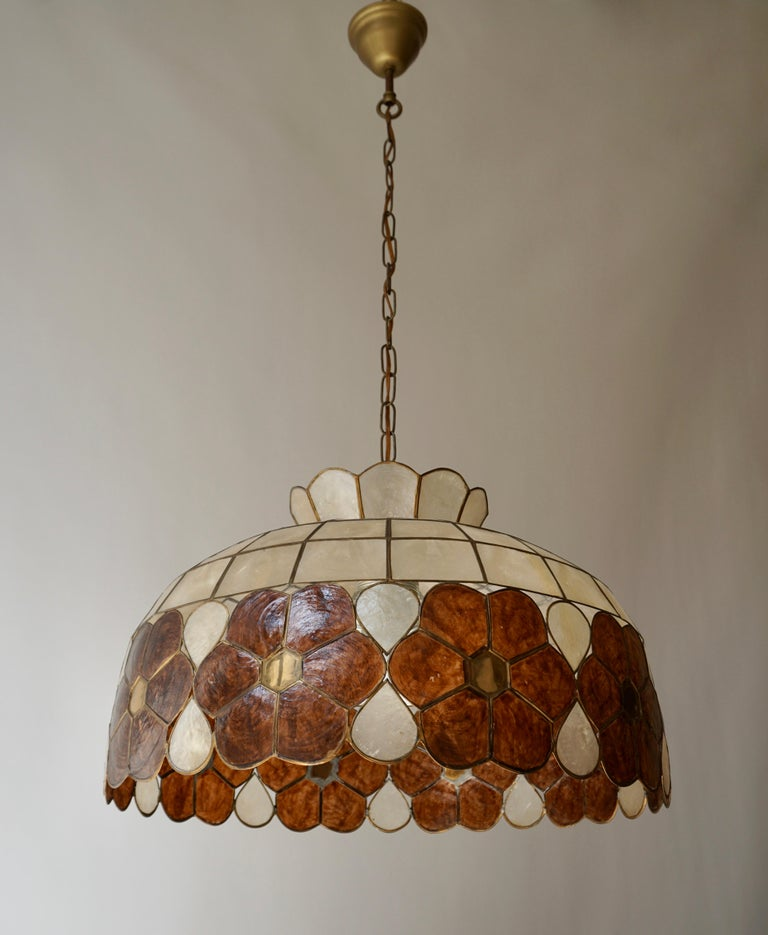 Capiz Shell and Brass Floral Themed Pendant Light For Sale 6
