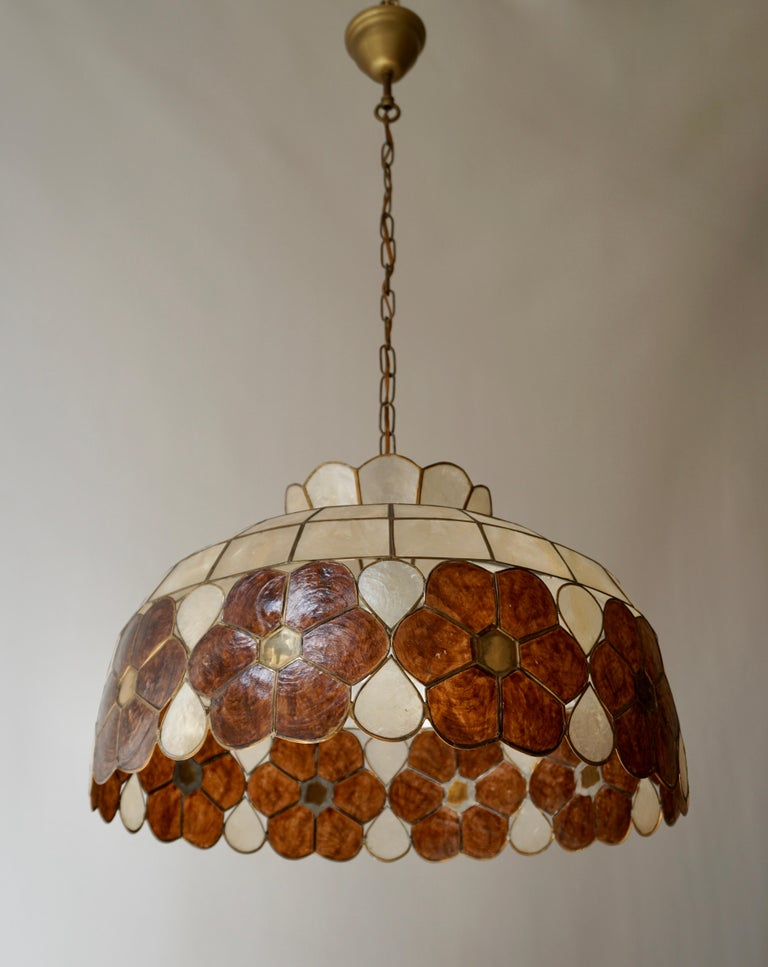 Capiz Shell and Brass Floral Themed Pendant Light For Sale 7